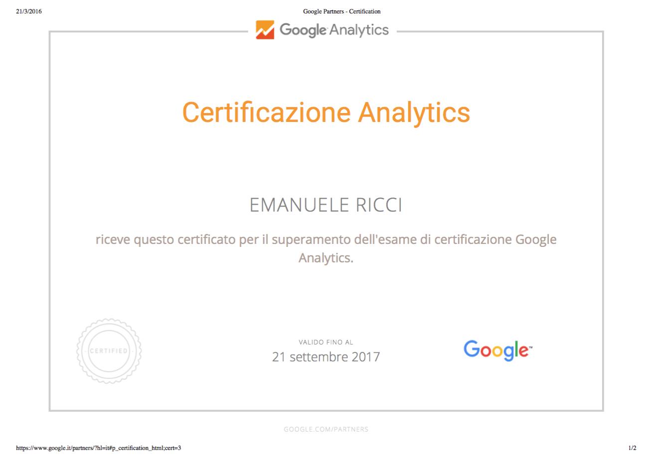 Certificato Google Analytics