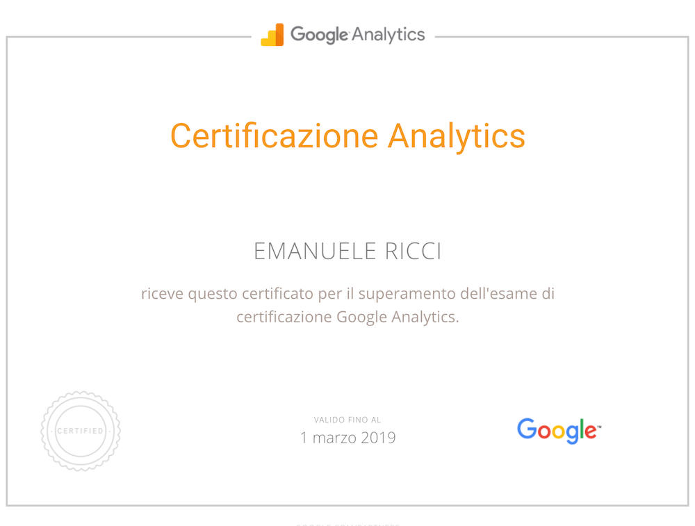 Certificato Google Analytics