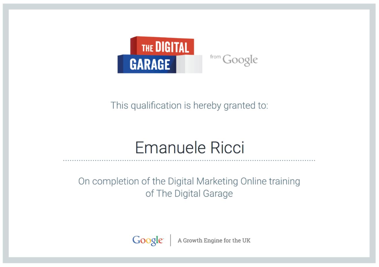 Digital Martketing Certificate